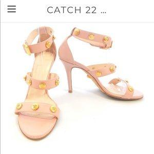 Versace Medusa Pink Studded Strappy Sandal Sz 39